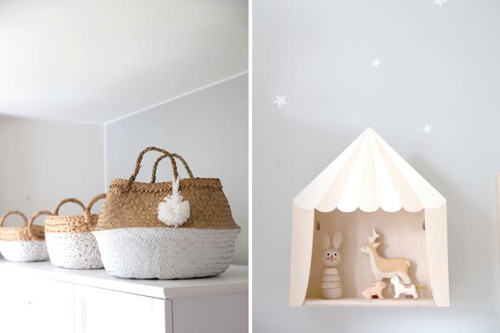 Kinderzimmeraufbewahrung in natur & weiß